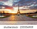 paris  eiffel tower at sunrise. | Shutterstock . vector #255556909