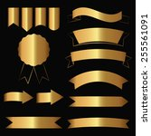 set of gold contour ribbons and ... | Shutterstock .eps vector #255561091