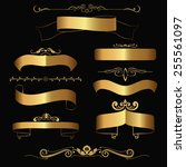 set of gold contour ribbons and ... | Shutterstock .eps vector #255561097