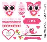 cute owl scrapbook element set | Shutterstock .eps vector #255574084