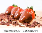 chocolate dipped strawberries ... | Shutterstock . vector #255580294
