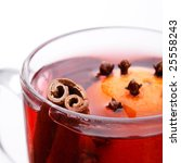 mulled wine with cinnamon stick - stock photo