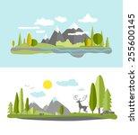 summer landscape in flat style. | Shutterstock .eps vector #255600145
