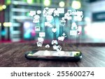 smart phone with social media... | Shutterstock . vector #255600274