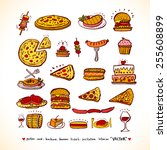 hand drawn restaurant poster  ... | Shutterstock .eps vector #255608899