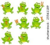 happy green frogs holding... | Shutterstock .eps vector #25561189