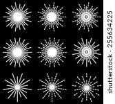 vector starbursts black white... | Shutterstock .eps vector #255634225