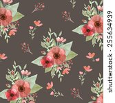 seamless flowers and leaves... | Shutterstock . vector #255634939