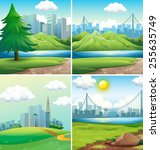 four scenes of cities and parks | Shutterstock .eps vector #255635749
