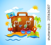 vacation and tourism concept... | Shutterstock .eps vector #255636307