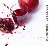 juicy pomegranate on a white... | Shutterstock . vector #255637201