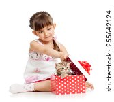 Surprised Kid Girl Opening Gift ...