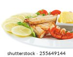 image of grilled salmon with... | Shutterstock . vector #255649144