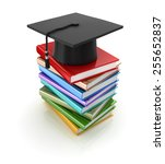mortar board and books  ... | Shutterstock . vector #255652837