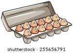 A Dozen Of Eggs On A White...