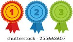 first  second and third place.... | Shutterstock .eps vector #255663607