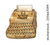 vintage typewriter on white... | Shutterstock .eps vector #255667099