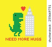 need more hugs t rex and ... | Shutterstock .eps vector #255669751