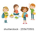 pupils boys and girls | Shutterstock .eps vector #255673501