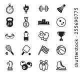 sports icons. sports items ... | Shutterstock .eps vector #255690775