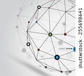 geometric circles molecular... | Shutterstock .eps vector #255698641