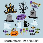 set of cute vector halloween... | Shutterstock .eps vector #255700804
