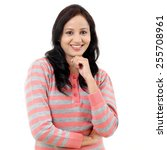 cheerful young woman    Shutterstock . vector #255708961