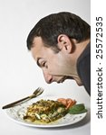 Stock photo eating superfood lasagna raw food vegan 25572535