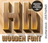 vector set of 3d luxury wooden... | Shutterstock .eps vector #255743965