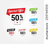 special offer 50  labels set | Shutterstock .eps vector #255745555