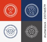 vector linear football badge... | Shutterstock .eps vector #255760579