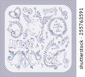 vector set of funny cartoon... | Shutterstock .eps vector #255763591