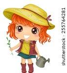 illustration of a little girl... | Shutterstock .eps vector #255764281