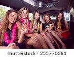 happy friends drinking... | Shutterstock . vector #255770281