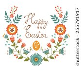 Easter Card With Floral Wreath. ...