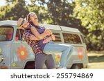 hipster couple having fun... | Shutterstock . vector #255794869