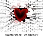 abstract 3d illustration of red heart breaking the wall - stock photo