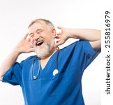 portrait of an old male doctor... | Shutterstock . vector #255816979