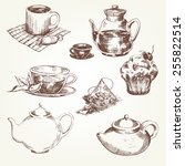 tea set. pen sketch converted... | Shutterstock .eps vector #255822514