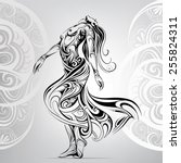 dancing girl in the ornament | Shutterstock .eps vector #255824311