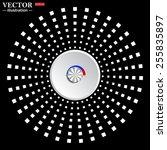 white circle on a black...
