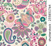 paisley floral seamless pattern | Shutterstock .eps vector #255851764