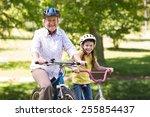 happy grandmother with her... | Shutterstock . vector #255854437