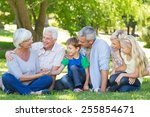 happy family talking to each... | Shutterstock . vector #255854671