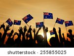 group of people waving... | Shutterstock . vector #255855025