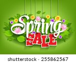 spring sale word hanging on... | Shutterstock .eps vector #255862567