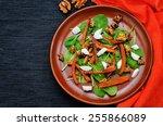 salad with spinach  mozzarella  ... | Shutterstock . vector #255866089
