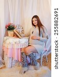 beautiful pregnant woman...   Shutterstock . vector #255882691