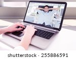 Small photo of Composite image of cheerful creative business employee resting