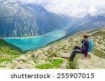 beautiful alpine landscape with ... | Shutterstock . vector #255907015